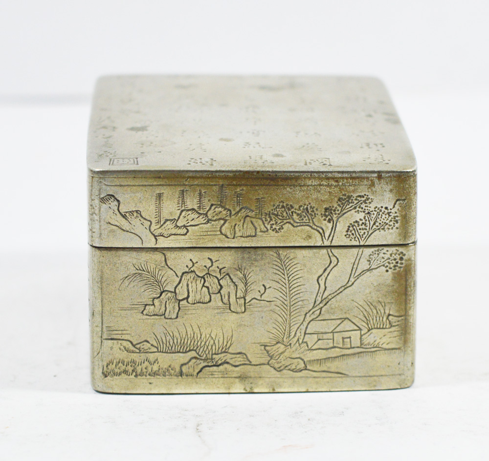 Antique Calligraphy: ANTIQUE CHINESE SILVER INK BOX INKSTONE & CALLIGRAPHY